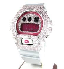 diamond casio g shock watches black white cz dw 6900 watch mens pink cz dw 6900 white stainless steel g shock watch 5 00ct