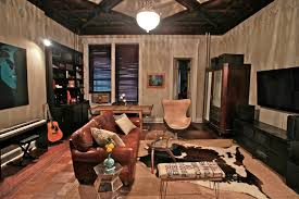 industrial design decoration living room eclectic with cowhide rug restoration hardware dining room