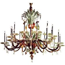very large multi color hand blown murano venetian glass chandelier