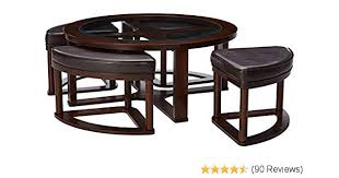 amazon ashley furniture signature design marion contemporary coffee table tail height dark bown home kitchen