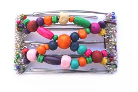 one clip small 5 gs with pretty wooden beads