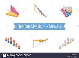 Bar Chart Elements Isometric Illustrations Set Various
