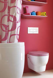 Bathroom:Cute Pink Bathroom With Sharp Pink Wall Paint Complete White  Bathtub And Sink Pink