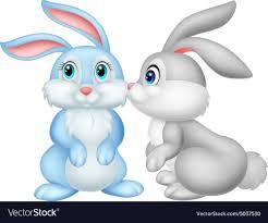 cute rabbit kissing vector image