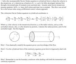 question solve the incompressible navier stokes equation in cylindrical form to obtain the velocity in the
