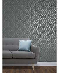 apex geometric trellis wallpaper slate grey and blue fine decor fd41996 feature wall