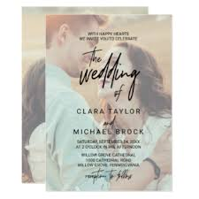 Wedding Invitation With Photo Whimsical Calligraphy Faded Photo The Wedding Of Invitation