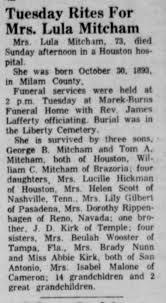 Lula Kirk Mitcham Obituary - Newspapers.com