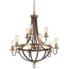 safra 9 light harvard court bronze with natural brushed brass chandelier