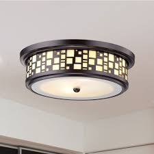 Frosted Glass Light Fixture Resin Drum Flush Mount Ceiling Light With Frosted Glass