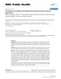 Prevalence Of Obesity And Abdominal Obesity In The Lausanne