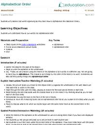 Alphabetical Order Alphabetical Order Lesson Plan Education Com