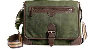 brooks brothers washed canvas and leather buckle messenger bag in green for men lyst