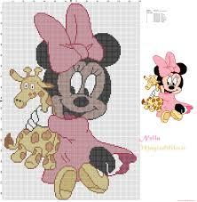 Baby Minnie Mouse With Giraffe Free Cross Stitch Patterns