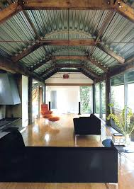 corrugated metal ceiling installation steel basement living room industrial with sliding tiles