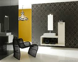 black and yellow bathroom