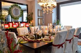 dining room chairs decorated for christmas. edmonton modern christmas decorations dining room traditional with table setting bronze pillar candleholders black mirror chairs decorated for u