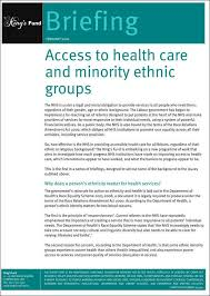 Ethnic Groups In The Uk Access To Health Care And Minority Ethnic Groups The