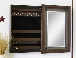 chestnut ridge wall mounted jewelry box with sliding mirror in open position 2440 101lg