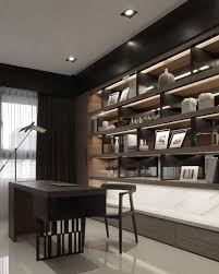 neutral office decor. Masculine Home Office Decor With LED Library And Neutral Colour Scheme. O