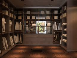 elegant closet design with brown wooden closet cabinet on brown floor