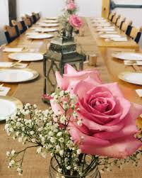 Sample Table Setting Roses Lanterns Candles Table