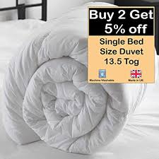 BeddingCareUk Single 13.5 Tog <b>Quilt Duvet 135x200cm</b> White ...