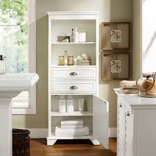 Tall Furniture Cabinets Lydia 60 Tall Bathroom Storage Cabinet In White By Crosley