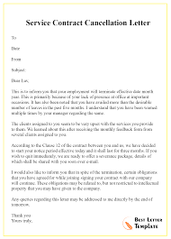 Cancellation Letter Of Contract Format Sample Example