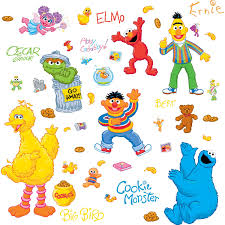 Sesame Street Bedroom Decor Roommates Sesame Street Peel And Stick Wall Decals Free Shipping