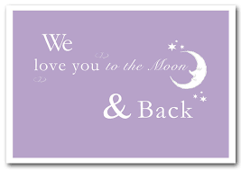 text es we love you to the moon and back 2 lilac prints posters