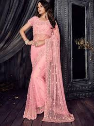 Cutdana Work Saree Designs New Indian Party Wear Pink Embroidered Cutdana Work Saree