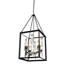 artcraft 8 light black and chrome chandelier