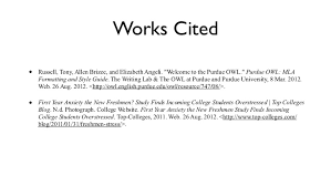 in text citation works cited works citedbull russell