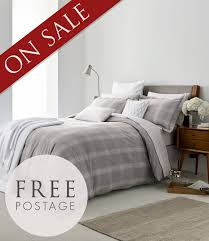 peacock blue grey check brushed cotton bedding free uk delivery