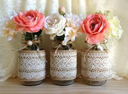 Mason Jar Decorations For Bridal Shower Burlap And Lace Covered 60 Mason Jar Vases Wedding Deocration 1