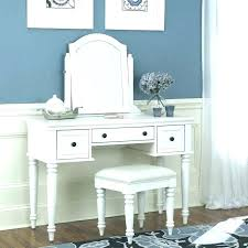 Bedroom Desk Vanity Distressed Silver Mirror With White Makeup ...