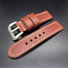 details about 24mm cow leather strap band for 44mm panerai luminor watch reddish brown red new