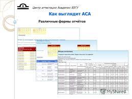 Презентация на тему Автоматизированная среда аттестации АСА  11 Центр аттестации Академии ВЭГУ Как выглядит АСА Различные формы отчётов