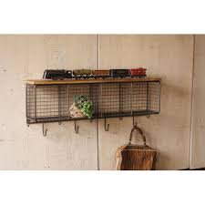 Wire Coat Rack Natural Wire Mesh Four Horizontal Cubbies W Raw Wooden Top Kalalou 34