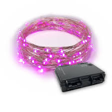 Battery Operated Led Indoor Lights Rtgs 30 Pink Color Led String Lights Batteries Operated On 10 Feet Long Silver Color Wire Indoor And Outdoor With Black Waterproof Batteries Box And