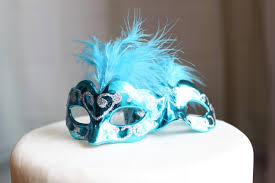 Miniature Masquerade Masks Decorations Miniature Masquerade Masks Turquoise Cake Topper Paris 13