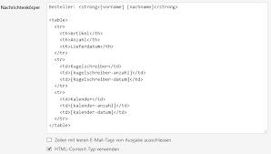 Nachrichten mit HTML Tabellen versenden – WordPress Formulare