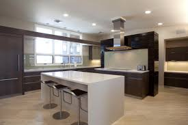 Brown Wooden Kitchen Cabinet And White Island With Quartz