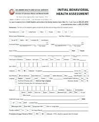 Fitness Assessment Form Inspiration Mental Health Assessment Template Health Assessments Templates