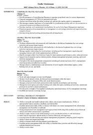 Travel Manager Resume Samples Velvet Jobs Cv Examples For Pub Work