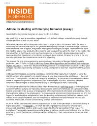 Essay On Advice Advice For Dealing With Bullying Behavior Essay