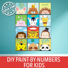 animal series diy oil painting by numbers for kids fun children canvas art painting set paint by number kit is great for gift building bonds or