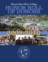 Mount Saint Mary College Honor Roll Of Donors 2009 2010 By