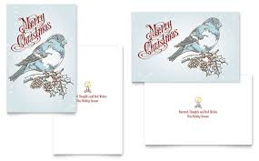 Free Greeting Card Templates For Microsoft Word Vintage Bird